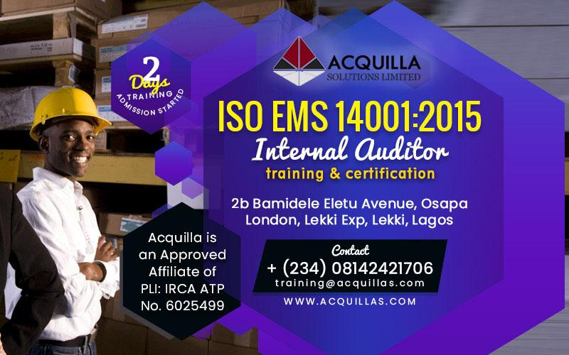 ISO EMS 14001:2015 Internal Auditor - Nov. Training in Lagos