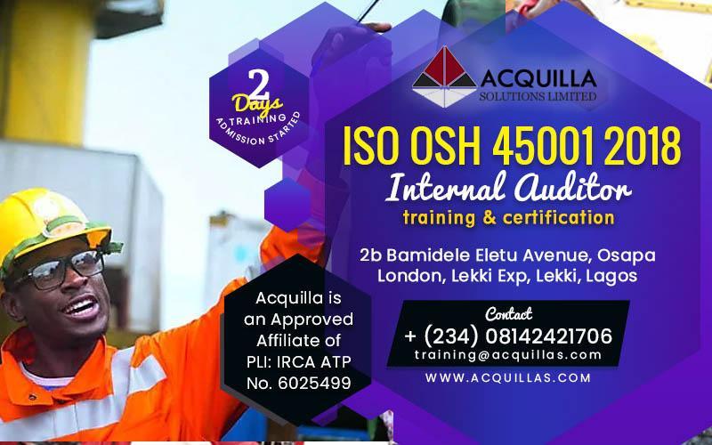 ISO 45001:2018 Internal Auditor (2 days Training in Lagos)