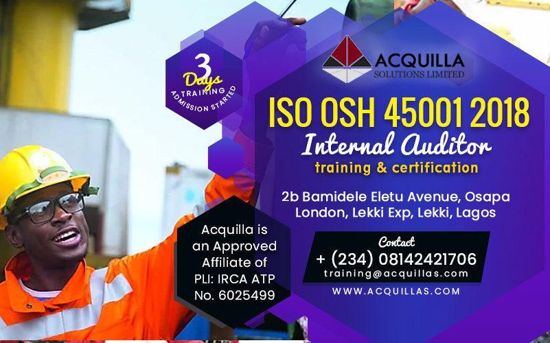 ISO 45001:2018 Internal Auditor (November Training in Lagos)