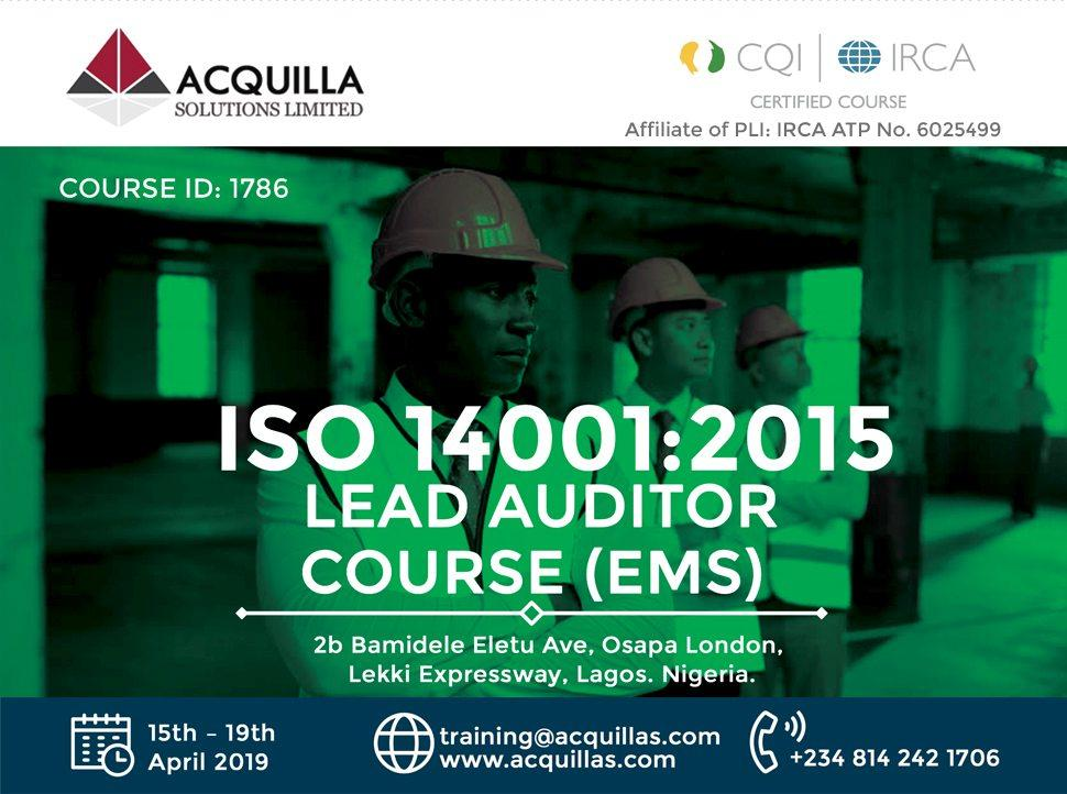 Acquilla Solutions Limited - ISO 14001:2015 Lead Auditor Course (Course ID 1786) | Lagos | May