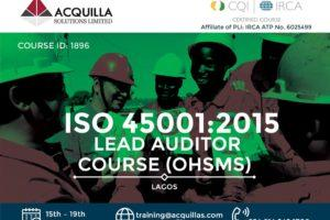 Acquilla Solutions Limited - ISO 45001:2015 Lead Auditor Course (Course ID 1896) – Lagos | April