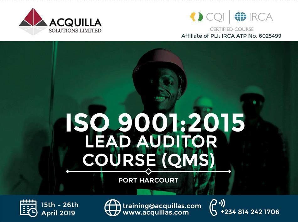ISO 9001:2015 Lead Auditor Course (Course ID 1718) | Port Harcourt