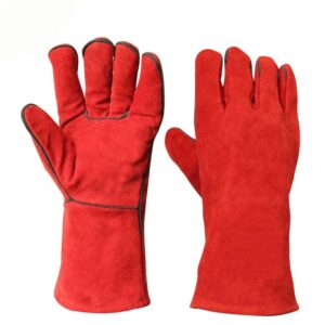 Red Welders Leather Gloves